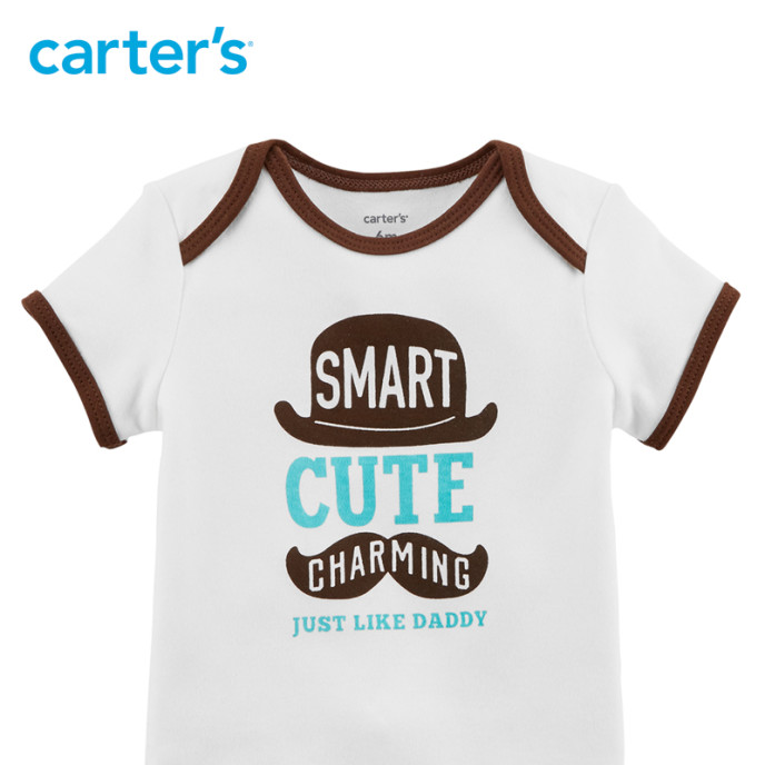 "Carter's Boys ""Smart Cute Charming"" Graphic Bodysuit"