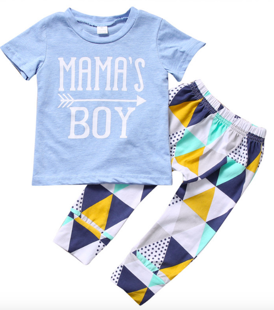 T-shirt Top & Geometric Pant 2PCS Boys