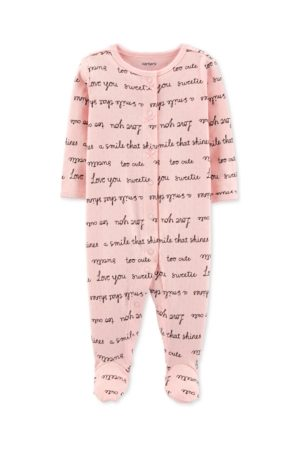 Carters Word-Printed Footed Cotton Sleepsuit