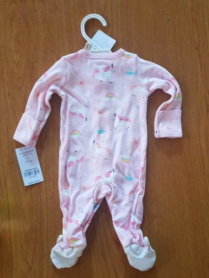 Carters Snap-Front Unicorn Sleepsuit Footie in Pink